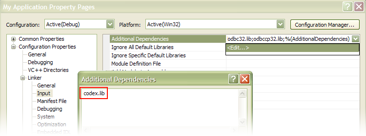 Screenshot of the dialog box for including pluma.lib as additional dependency