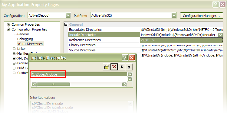 Screenshot of the dialog box for setting up the include directories